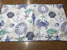 Williamsburg King One Pillow Sham Blue Sea Life Shells Shell Starfish Crab