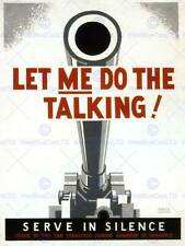 WAR PROPAGANDA WW2 GUN SILENCE TALKING USA VINTAGE ADVERTISING POSTER ART 2743PY