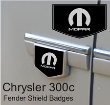 Chrysler 300c Mopar Logo Fender Side Shield Badge Emblems (Black/Chrome)
