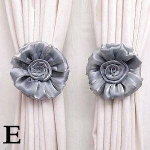 Curtain Tie Backs Magnetic Flower Buckle Holder Tieback Clips Window Home