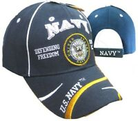 U.S. Navy USN Defend Freedom Swirl Emblem Blue Embroidered Cap CAP596F Hat