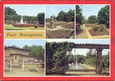 Forst (Lausitz) Baršć Rosengarten mit Springbrunnen und Blumenbeete 1984