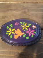 Vintage Leather Hand Painted Coin Purse  Made in Mexico Blue Multi-Color Floral