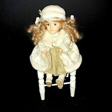 """Porcelain Doll Fancy Sitting Doll Oversize Chair  14"""" Sitting"""