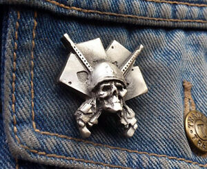 Aces High Straight to Hell Pewter Pin Badge
