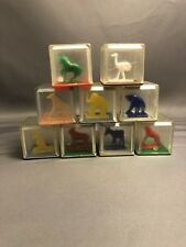 Vintage Clear Plastic Blocks With Animals & Rattle Bead Inside