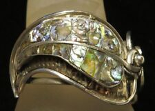 Hammered Sterling Silver & Abalone Leaf Clamper Cuff Hinged Bracelet Ae Mexico