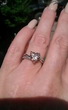 Champagne Morganite Heart Solitaire W/Split Band Ring, Sterling Silver, Size 6