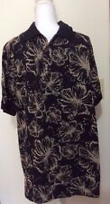 OCEAN PACIFIC Menswear shirt, Large Short Sleeve, Polo Black with Tropical Print