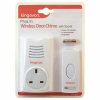 Cordless Kingavon Plug in Wireless Door Chime with Socket and Original Packaging
