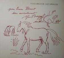 BRAYER Yves dessin signé pleine page avec décor Chevaux