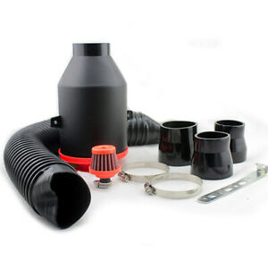 High Flow Cold Air Filter 70mm Flexible Ducts Intake System Kits For Car Engine