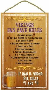 NFL Team Fan Cave Rules Wood Sign / Plaque - For your Man Cave