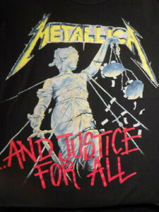 Retro Metallica And Justice for All Metal Rock Music Black Small T-shirt