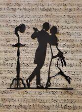 Scherenschnitte black paper cutting vintage dancers on 8x10 music background