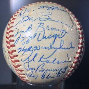 1961 DETROIT TIGERS TEAM SIGNED BASEBALL AL KALINE JIM BUNNING NORM CASH 26 SIGS