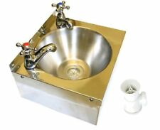 Stainless Steel Hand Wash Basin Sink 2 Taps Waste and Plug