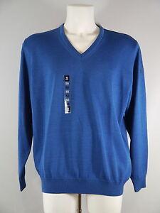 Herren Pullover Schurwolle  März V-Pulli blau, hellblau, braun, orange, gelb NEU