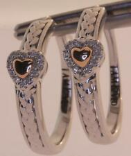 New 925 sterling silver 14k yellow gold heart diamond hoop huggie earrings 4.9g