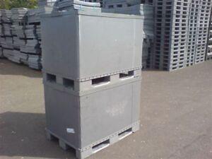 PLASTIC STORAGE PALLET BOX CONTAINER 500KG CAPACITY SET OF 5 - GRADE B - EURO