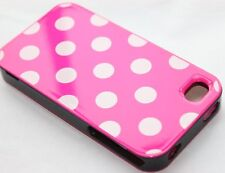 iPHONE 4 4G 4S - 3 in 1 HARD PROTECTOR CASE COVER HOT PINK & BLACK POLKA DOTS