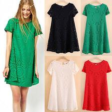 AL_ Women Bohemian Short Sleeve Lace Dress Loose Hollow Dresses Novelty