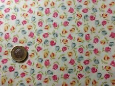 fat quarter cotton poplin with small tulips in red,blue,yellow on ivory