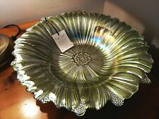 "Akcam Decorative Handmade Turkish Glass Bowl Green Iridescent 11.5"" Diameter -1-"