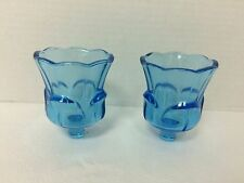 HOME INTERIOR/HOMCO BRIGHT BLUE TULIP VOTIVE CUPS PAIR of VINTAGE 1970's ERA
