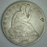 1877 US Half Dollar US Seated Liberty Half Dollar Very Good KJ10