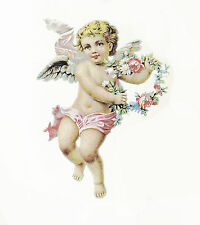 Ceramic Decals Cherub Angel Floral Wreath Pink