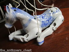 Chinese blue and white Ceramic Articulated Horse Marionette Puppet  rare[61B*]