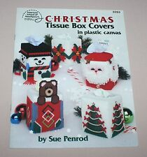 Christmas Tissue Box Covers 12 Plastic Canvas Patterns Booklet 3053 Sue Penrod