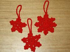 HANDMADE CROCHET RED SNOWFLAKE CHRISTMAS DECORATIONS
