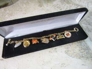 Danbury Mint gold plated BENGALS Football charm bracelet. Cincinnati