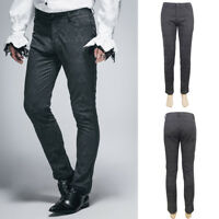 Devil Fashion PT028 Mens Elegant Gothic Victorian Brocade Black Trousers Pants