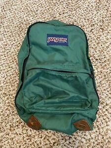 VTG Jansport green backpack Leather Accents