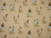 Mini Prints Hens Country Side Animals Linen Look Fabric Curtain Upholstery