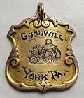 14K ANTIQUE OBSOLETE 1888 GOODWILL FIRE COMPANY YORK PA PRESENTATION BADGE FOB