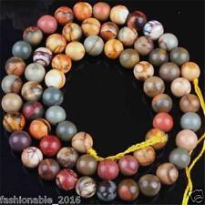 6MM PICASSO JASPER STONE ROUND BALL LOOSE BEAD 15''