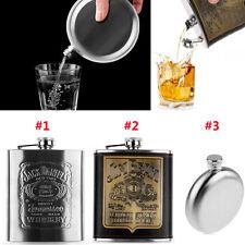 Acero Inoxidable 5/7oz Licor Alcohol Whisky Tapón Rosca Petaca & Embudo & Vaso