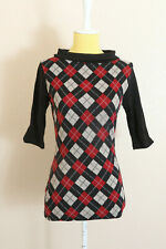 Heartbreaker Fashion Graduate Sweater Sz S Argyle 3/4 Sleeve Top Blouse Retro