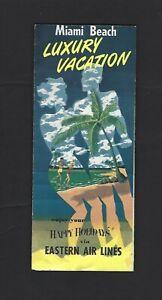 Vintage Eastern Airlines Happy Holidays Brochure Miami Beach Havana Nassau