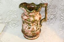 VIntage Majolica Pottery Green Roman Scenic Grapes Leaves Pink Pattern Pitcher