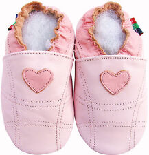 shoeszoo pink heart 0-6m S soft sole leather baby shoes