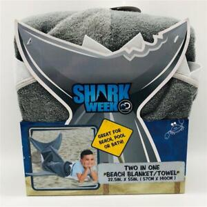 "New Discovery Shark Week Two in One FISH TAIL Beach Blanket Towel 22.5"" x 55"""