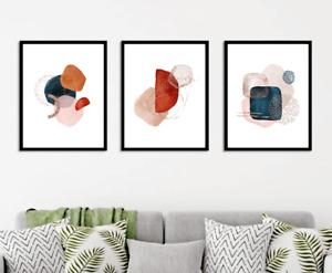 Abstract wall art prints Set of 3 Earthy brown modern terra cota wall decor x123