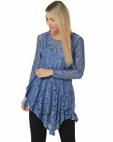 Attitudes by Renee Womens Ruffle Lace Tunic and Tank Large Denim Dusk A350623