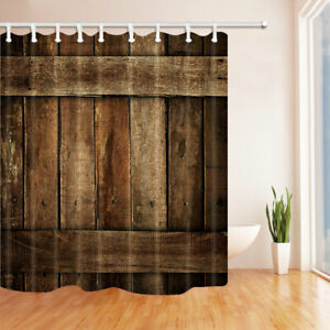 "Brown rustic wooden door Waterproof Fabric Bath Shower Curtain 69""x71"" 10 Hooks"