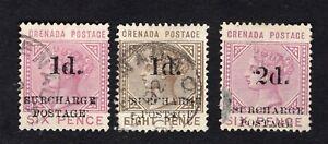 Grenada 1892 3 stamps SG#D4-D6 used CV=10$